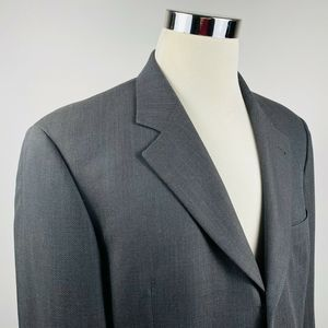 Hugo Boss Mens 42L Vintage Sport Coat Gray Wool